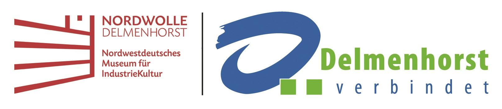 Das Logo des Nordwestdeutschen Museum für Industriekultur in Komibanation mit dem Logo der Stadt Delmenhorst.