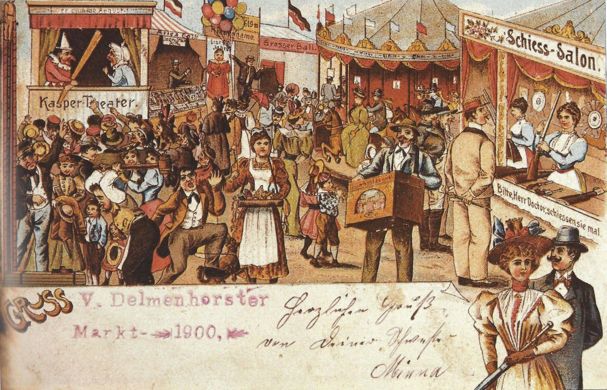 Grußkarte vom Delmenhorster Kramermarkt aus dem Jahr 1900.
